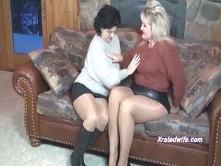 cougar babes in sweaters drill each another with
