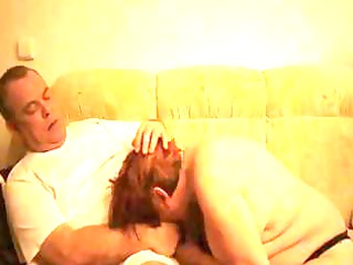 slutty old redheaded old licks her hubbys cock