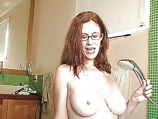 horny ginger woman with glasses obtains ashen