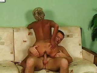 blonde old in glasses and nylons bangs
