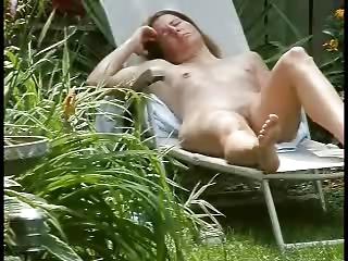 my mum bath sunning into the garden decided to