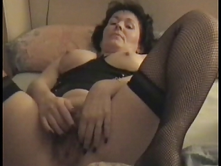 grown-up bushy lady masturbating for hubby