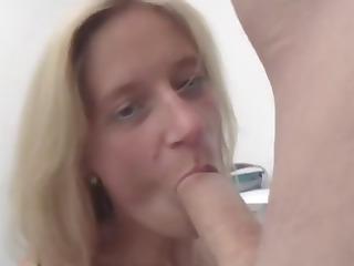 older blonde secretary nibbles on the bosses