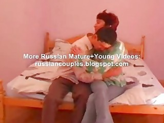 ryssian mature babe and teenager fucking on bunk
