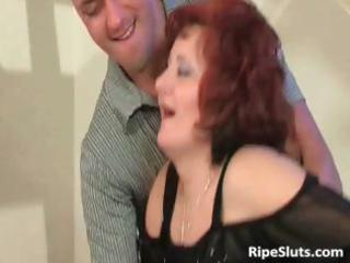 grown-up redhaired with huge breast acquires that