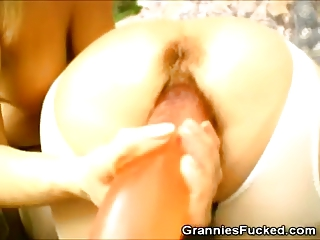 awesome grannies plays with two way vibrator