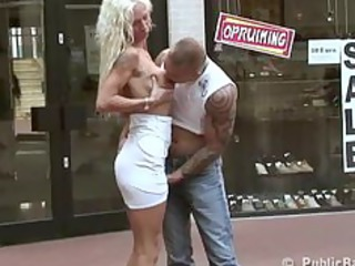 outdoor sex babe pierced at a shoe store
