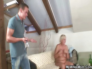 slutty elderly seduces her son inside law