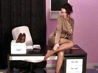 super woman inside the agency having on satin