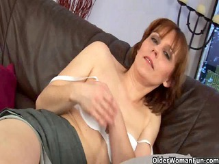 older lady spreads her hirsute cave
