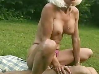momma into a hot triple duos at the garden