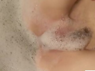 ginger lady pleasures her soapy cave