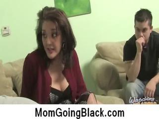 momma obtain into over a legs of dark dick