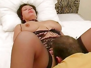 large breasted brunette lady into brief got
