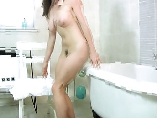 busty mature babe hand herself into the bathroom