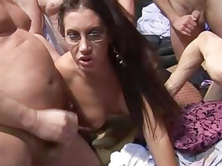 3 whores have a grownup amateur bunch drill