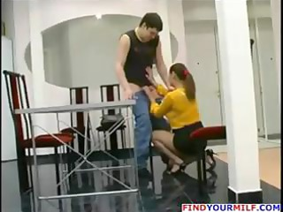 grownup russian milf catches boy jerking off and