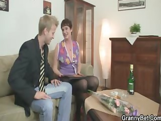 slutty granny jumps on inflexible meat