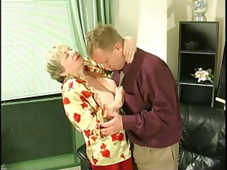 chubby pale granny uses her gigantic saggy tits