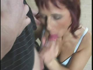 red-haired milf takes fingered, eats cock and