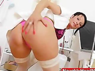 babe medic practitioner masturbating with herself