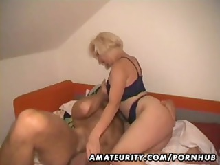 amateur albino lady eats his cock, gets banged,
