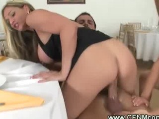 horny milf enjoys her side dish of dick from