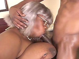 bbw brown grandma obtains a piece of hunk cock