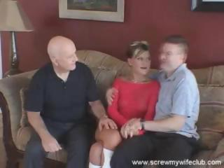 husband watches as his amateur lady licks and