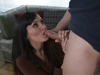 captivating brunette woman tasting and sucking