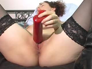 milf acquires off on big green plastic penis !