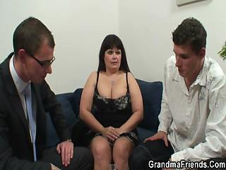 two guys pierce huge boobed mature slut
