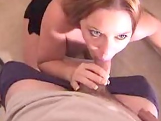 chick slowly spits white cream out of her oral on
