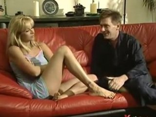 mature maiden banged on black armchair