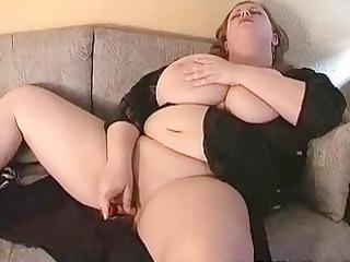 awesome big boobed woman fatty masturbates on the