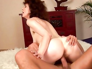 crazy penis gobbling brunette woman into scene