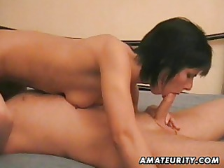 amateur lady licks and copulates a gang-banged