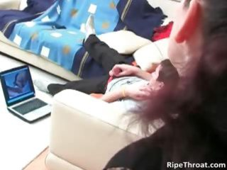 desperate brunette lady blows inexperienced