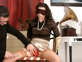 milf inside satiny stockings obtains blindfolded