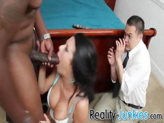 cuckold watches her wife acquiring pierced by
