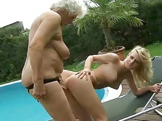 slutty granny enjoys homosexual belle porn with