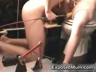lady heavy with dildo machine and sucks
