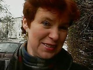 elderly german girl demonstrates off