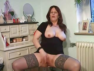 slutty lady plays into punish top nylons