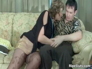 horny mature brunette licks on inflexible