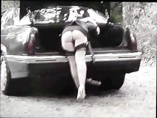 bitch lady in pantyhose and heels demonstrates