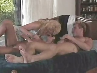 two cougar bitches licking and banging lucky male