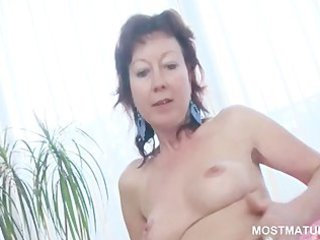 appealing older fucks super kitty with glass sex