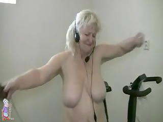 obese granny doing job out