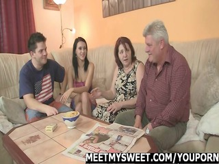 meeting her bf parents ends up three people orgy